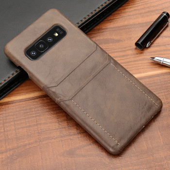 Samsung Galaxy S10+[Plus] Card Holder Snap Slim Lite Case Coffee