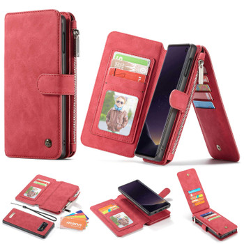 Samsung Galaxy S10E Leather Wallet Magnetic Case Card ID Holder Red