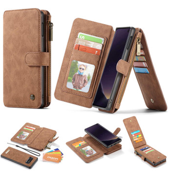 Samsung Galaxy S10E Leather Wallet Magnetic Case Card Holder Brown