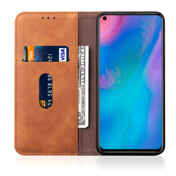 Huawei P30 PRO Leather Magnetic Flip Holder Case Cover Khaki