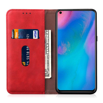 Huawei P30 Leather Magnetic Flip Card Holder Case Cover Red