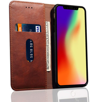 iPhone XR Shockproof Flip Cover Magnetic Case Leather Brown