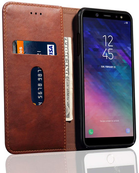 Samsung Galaxy J6 2018 Protective Leather Case Cover Dark Brown