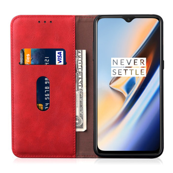 OnePlus 7 Leather Case Cover Crimson Red