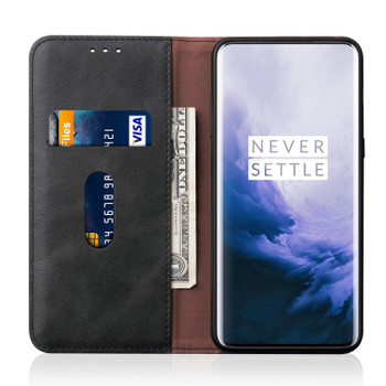OnePlus 7 PRO Phone Leather Flip Case Magnet Cover Black