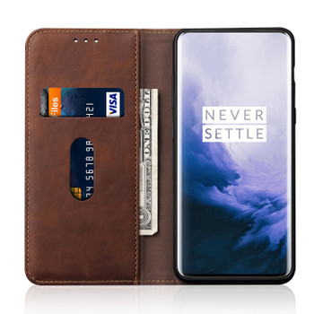 OnePlus 7 PRO Phone Leather Flip Case Magnet Cover Brown