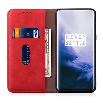OnePlus 7 PRO Phone Leather Flip Case Magnet Cover Red