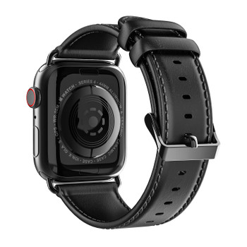 Apple Watch Series 4 Genuine Leather Strap Band Black 44mm