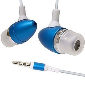 blue metal earphones