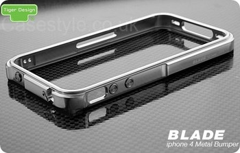 iPhone 4S 4 Blade Case Metal Bumper Silver