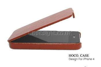 Hoco iPhone 4S 4 Slimmest Leather Flip Case Brown