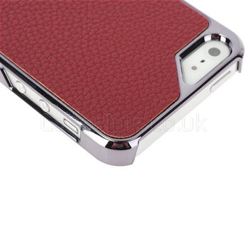 iPhone 5 5S Case with Red Leather Back
