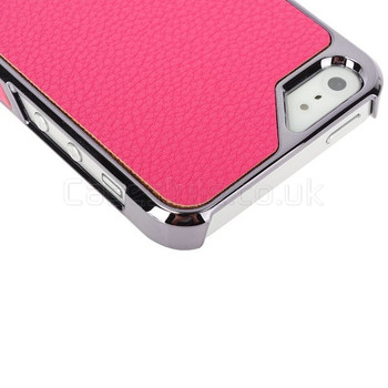 iPhone 5 5S Case with Pink Leather Back