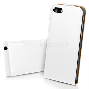 iPhone 5 5S Ultra Slim Genuine Leather Flip Case White