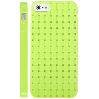 iPhone 5 5S Silicone Gel Skin Woven Green
