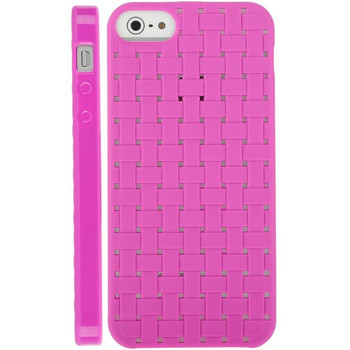 iPhone 5 5S Silicone Gel Skin Woven Pink