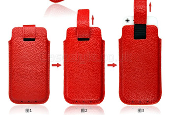 iPhone 5 5S Genuine Cow Leather Pouch Red