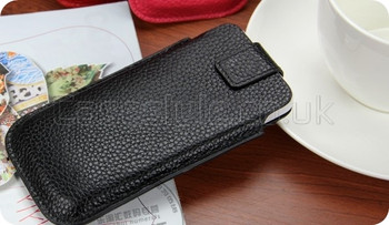 iPhone 5 5S Genuine Cow Leather Pouch Black
