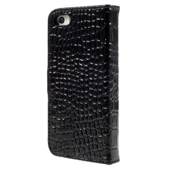iPhone 5 5S Leather Crocodile Case Black