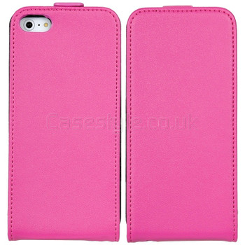 iPhone 5 5S Ultra Slim Genuine Leather Flip Case Pink