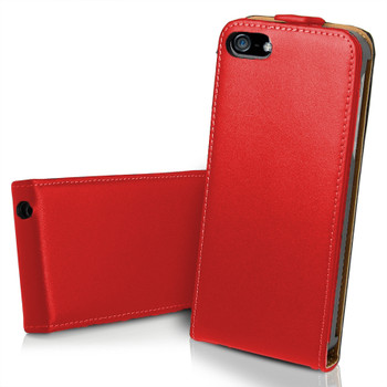 iPhone 5 5S Ultra Slim Genuine Leather Flip Case Red