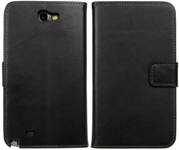 Samsung Note 2 Leather Wallet Case Card Holder Black