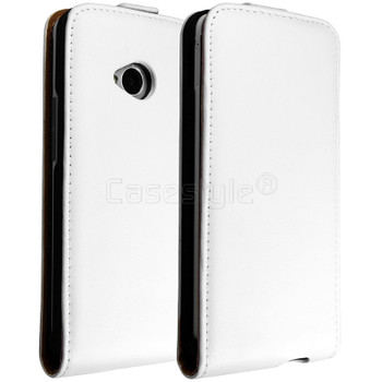 HTC One M7 Genuine Leather Flip Case White