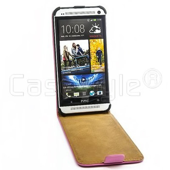 HTC One M7 Genuine Leather Flip Case Pink