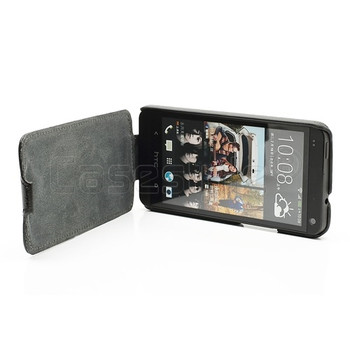 HTC One Leather Flip Case Black