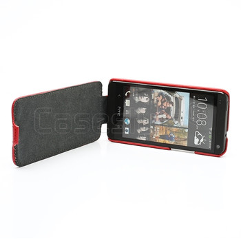 HTC One Leather Flip Case Red
