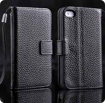 iPhone 4S 4 Genuine Cowhide Leather Wallet Black