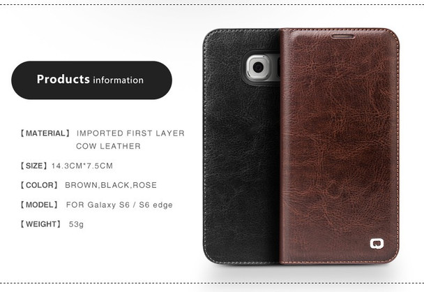 Qialino Samsung S6 EDGE Luxury Leather Wallet Case Black