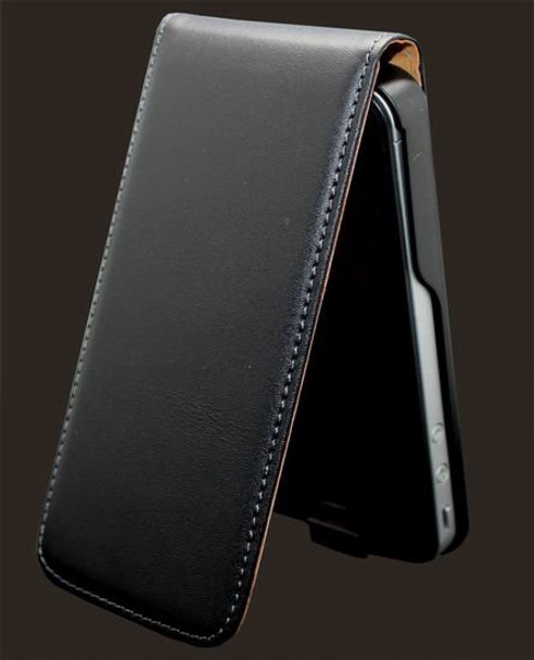 Ultra Slim Genuine Leather iPhone 4S 4 Flip Case Black