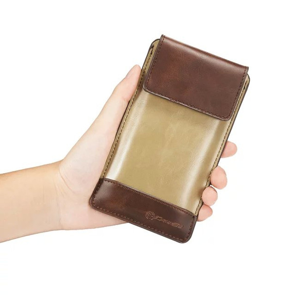 iPhone 6S 6 Velcro Pouch Case Brown With Metal Clip