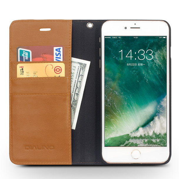 Qialino iPhone 7 Book Folio Wallet Luxury Leather Case Tan