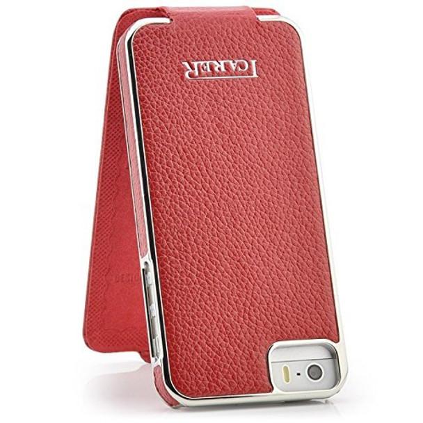 iPhone SE Real Leather Designer Flip Case Red