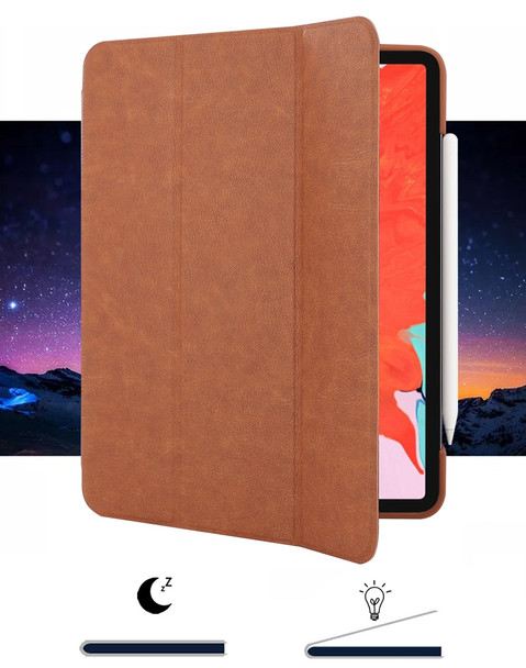 iPad Pro 11 Inch Smart Cover Case Brown with Pencil Slot