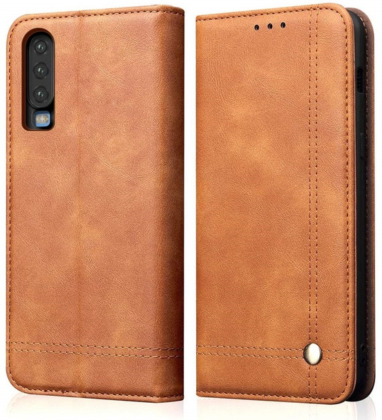 Huawei P30 Leather Magnetic Flip Card Holder Case Cover Khaki