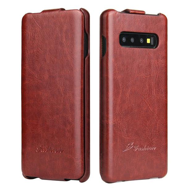 Samsung Galaxy S10 Vertical Flip Case Brown