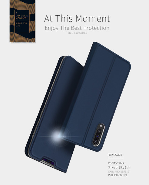 Samsung Galaxy A70 Magnetic Case Stand Cover Card Holder Blue