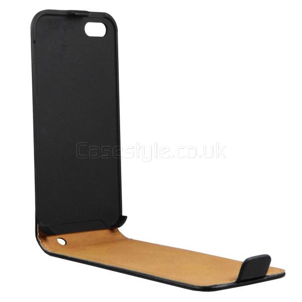 iPhone 5 5S Ultra Slim Genuine Leather Flip Case Black