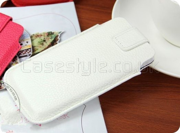 iPhone 5 5S Genuine Cow Leather Pouch White