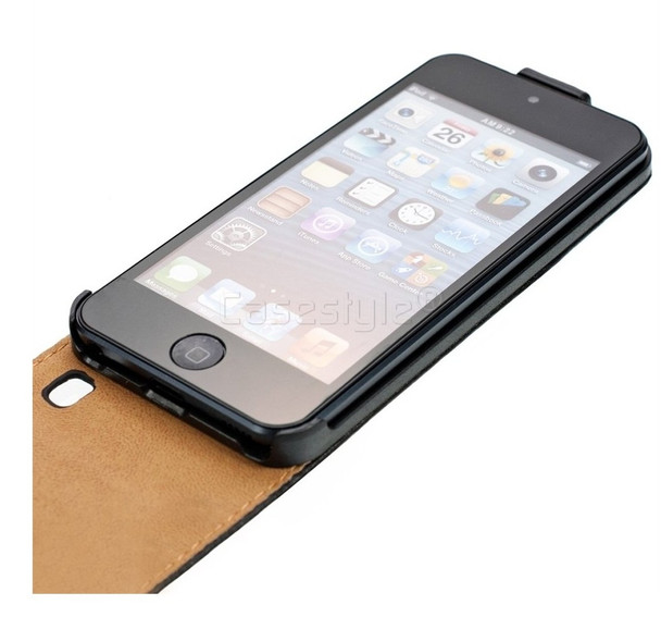 iPod Touch 6/5 Leather Flip Case Black