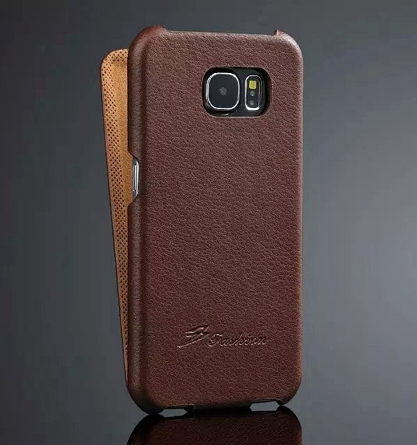 reputable site 64b42 b6bed Samsung Galaxy S6 EDGE Leather Flip Cover Brown