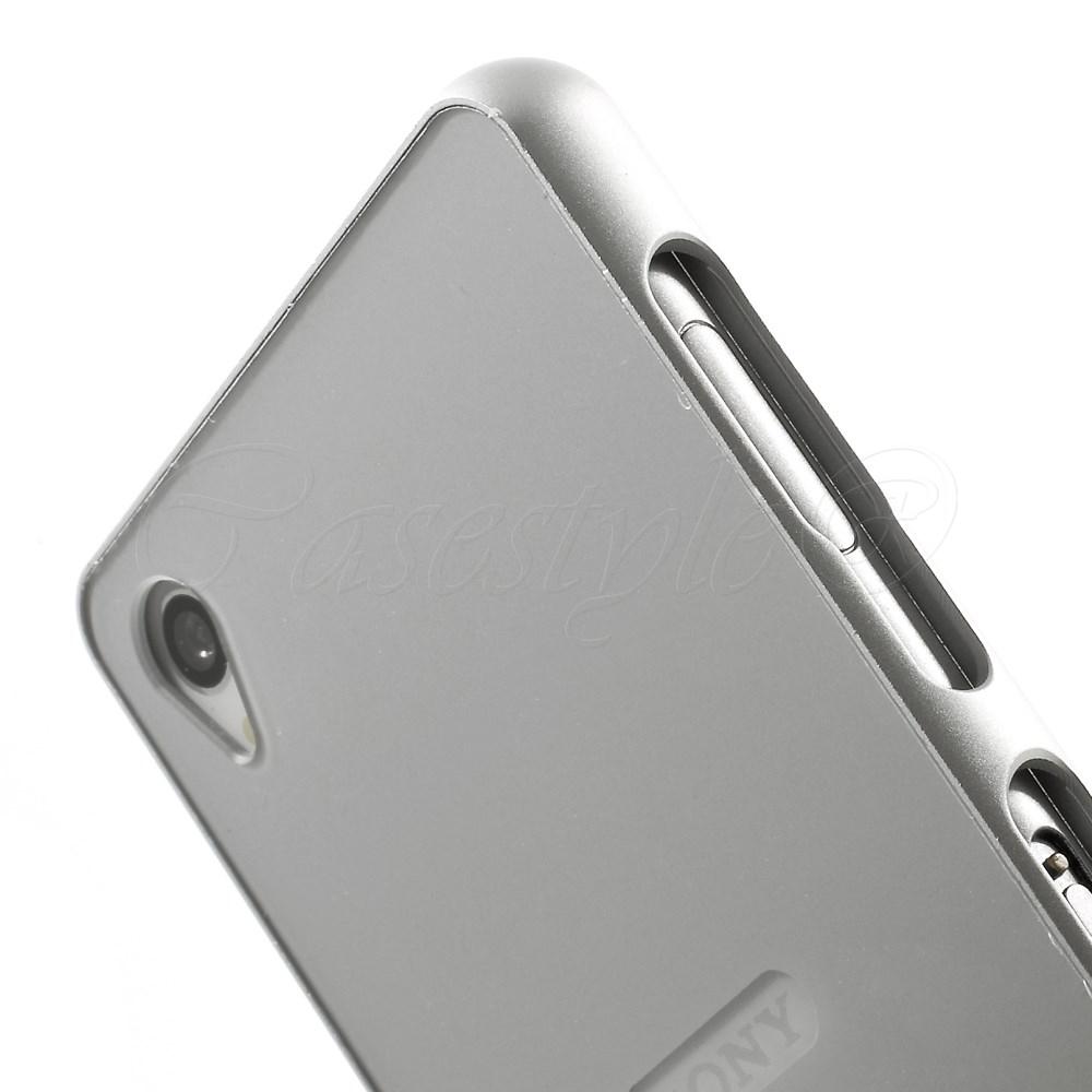 low priced 906cd 7c156 Sony Xperia Z3+Plus Silver Metal Bumper+Hard Back Case