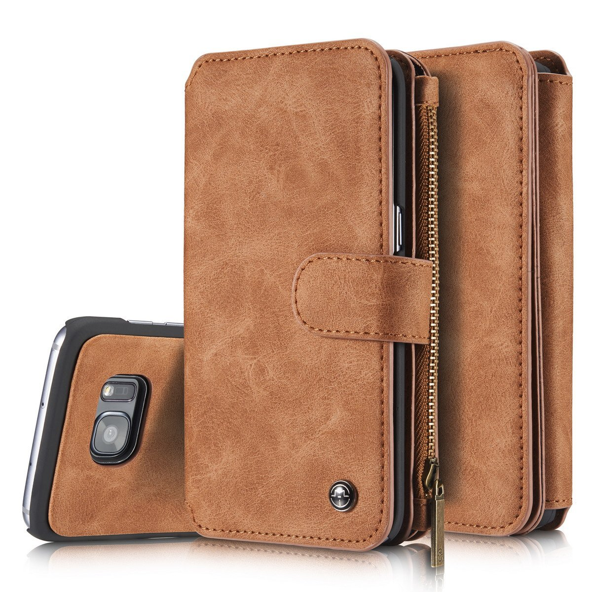 buy popular 627e6 17194 Samsung Galaxy S7 EDGE Leather Wallet Case Brown-14 Card Slots