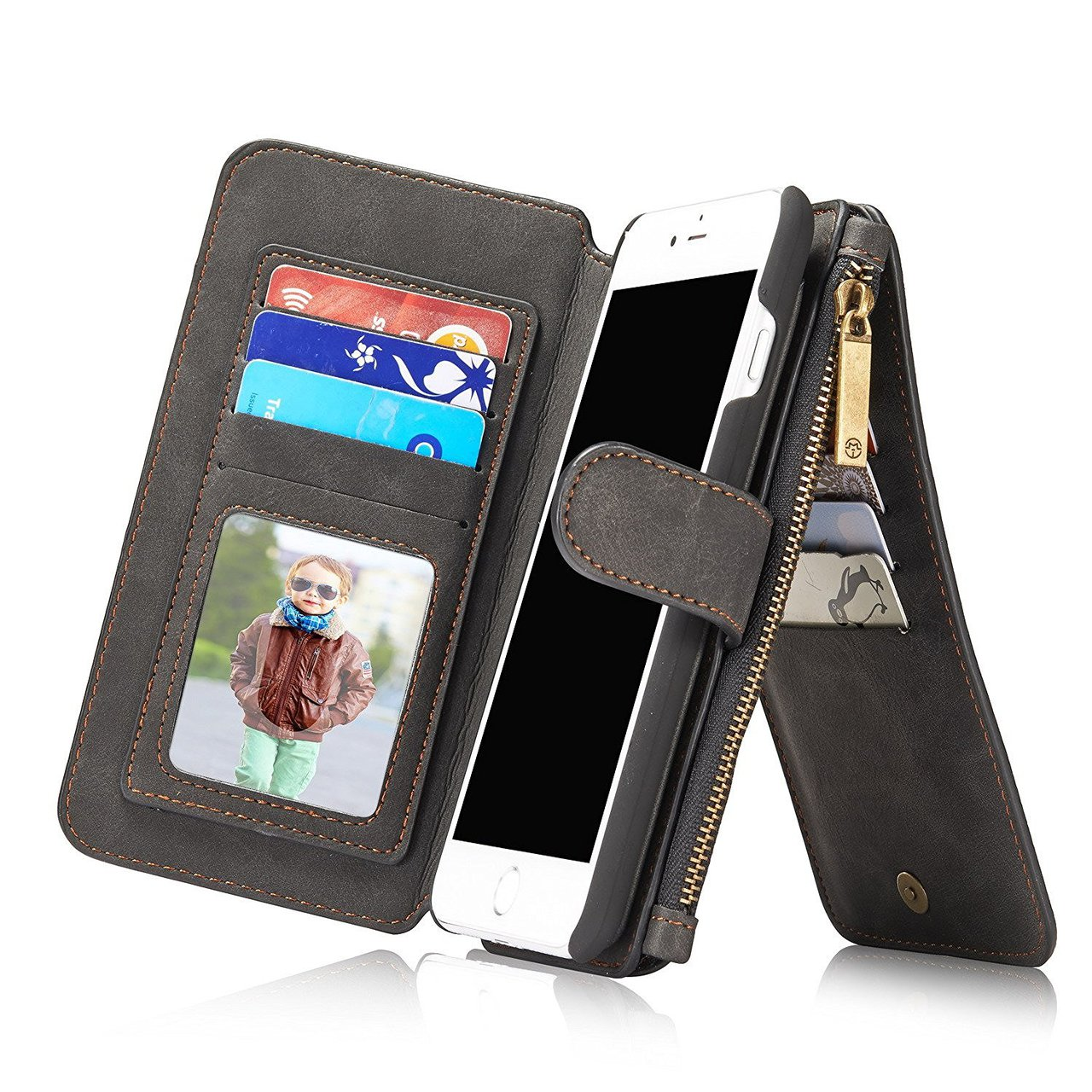 10ba41a3bba iPhone 7 PLUS Wallet Case Leather-14 Card Slots