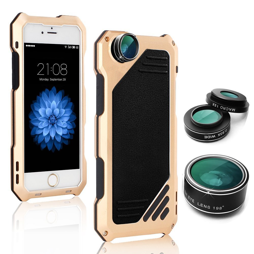super popular 2f9bf de47d iPhone 8 Lens Case Cover Gold Shockproof Body
