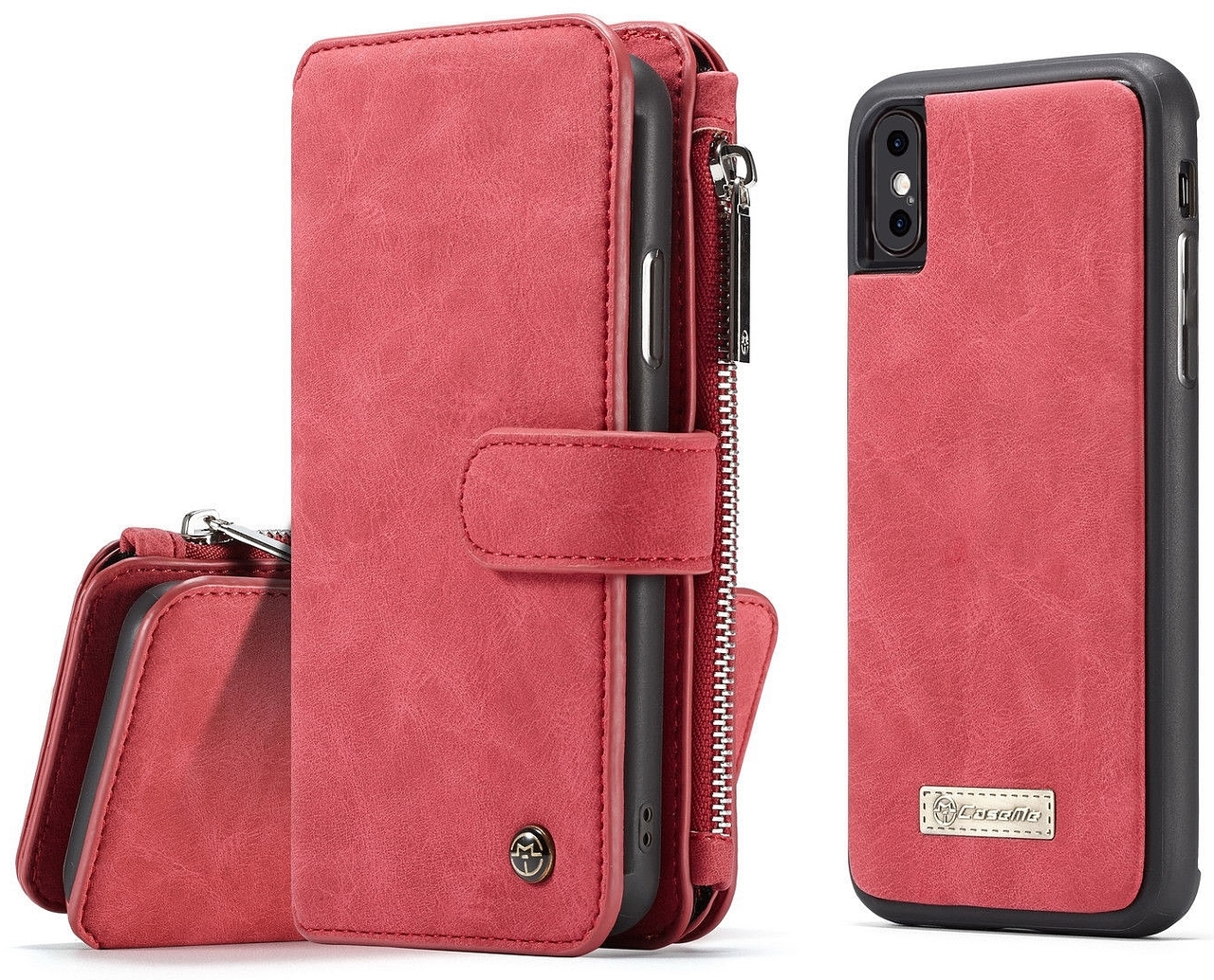 fb544bd0dabc iPhone XS MAX Leather Wallet Case 14 Cards Holder Red