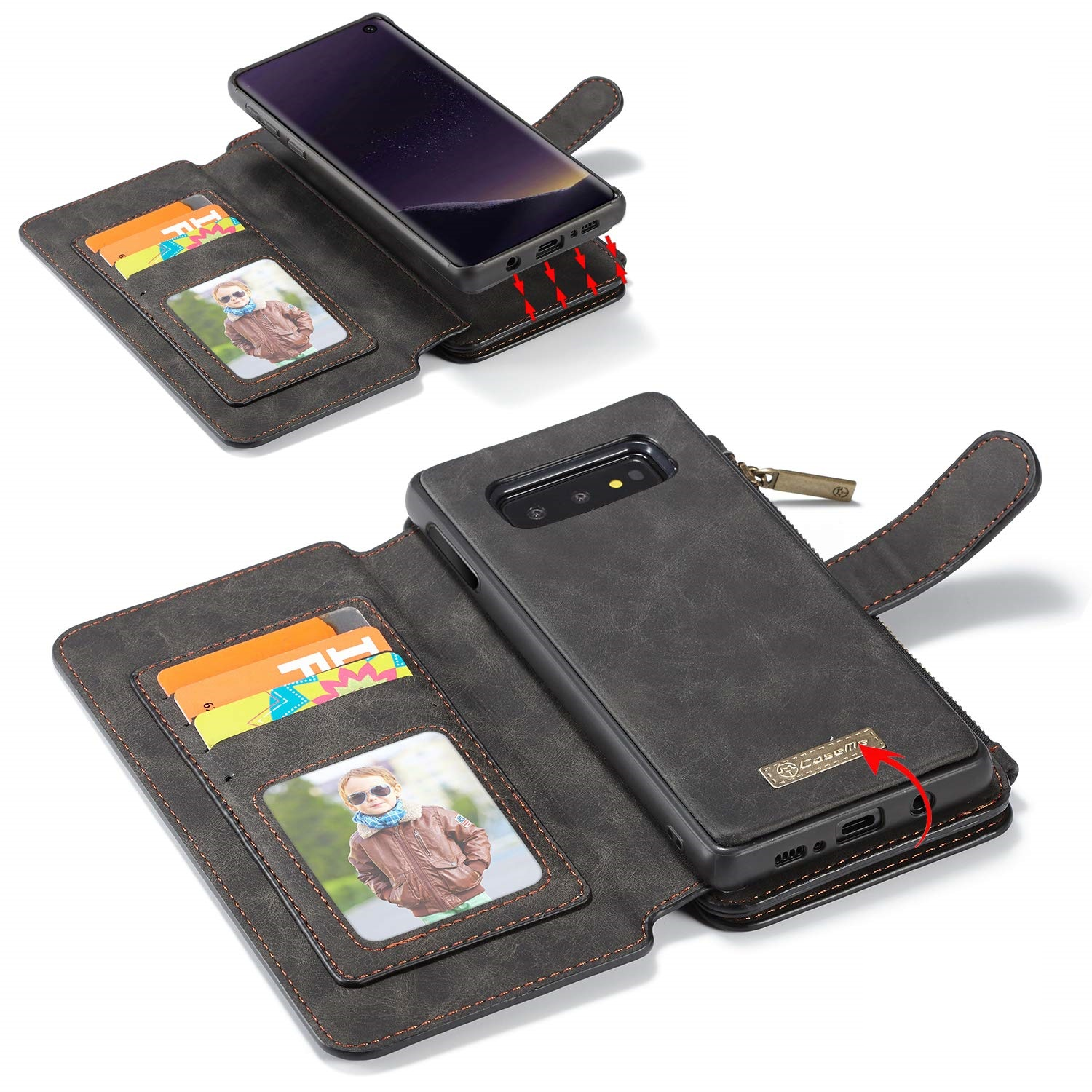 Samsung Galaxy S10E Leather Wallet Magnetic Case Card ID Holder